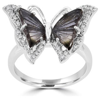 La Vita Vital 14k White Gold Natural Tourmaline and 1/5ct TDW Diamond Butterfly Ring