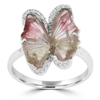 14K White Gold 2.66ct TGW Tourmaline and 0.19ct TDW Diamond Butterfly Ring by La Vita Vital (VS-SI1, G-H)