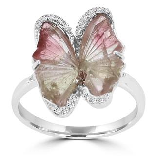 14K White Gold 2.66ct TGW Tourmaline and 0.19ct TDW Diamond Butterfly Ring by La Vita Vital (VS-SI1, G-H)