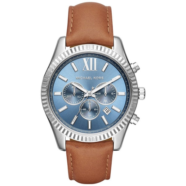 45587b357000b Shop Michael Kors Men s MK8537 Lexington Chronograph Blue Dial Brown Leather  Watch - Free Shipping Today - Overstock - 13433735