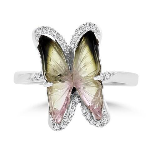 14K White Gold 1.72ct TGW Tourmaline and 0.14ct TDW Diamond Butterfly Ring by La Vita Vital