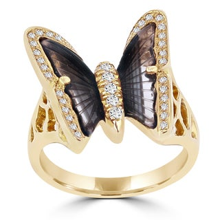 14K Rose Gold 1.90ct Tourmaline and 0.24ct TDW Diamond Butterfly Ring by La Vita Vital (VS-SI1, G-H)