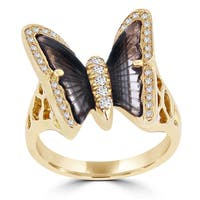 14K Rose Gold 1.90ct Tourmaline and 0.24ct TDW Diamond Butterfly Ring by La Vita Vital - Brown
