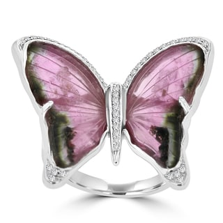 14K White Gold Natural Tourmaline 12..34cts and Diamond 0.36ct TDW (VS-SI1, G-H) Butterfly Ring by La Vita Vital