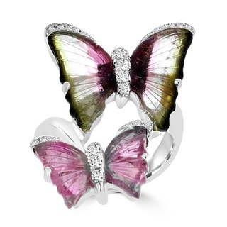 18K White Gold 6.74ct TGW Tourmaline and 0.25ct TDW Diamond Butterfly Ring by La Vita Vital (VS-SI1, G-H)