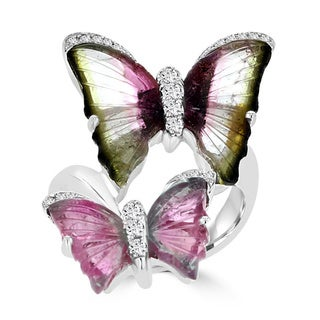 18K White Gold 6.74ct TGW Tourmaline and 0.25ct TDW Diamond Butterfly Ring by La Vita Vital