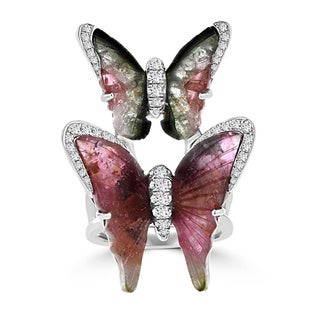 18K White Gold 14.67ct TGW Tourmaline and 0.68ct TDW Diamond Butterfly Ring by La Vita Vital (VS-SI1, G-H)