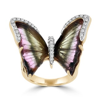 14K Rose Gold 7.93ct TGW Tourmaline and 0.21ct TDW Diamond Butterfly Ring by La Vita Vital (VS-SI1, G-H)