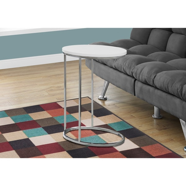 White Wood and Metal Oval Accent Table