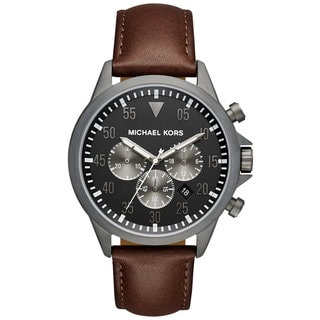 Michael Kors Men's MK8536 Gage Chronograph Grey Dial Chocolate Leather Watch