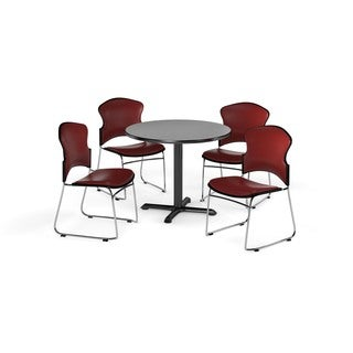 OFM Gray 42-inch Round X-Series Multi Purpose Table with 4 Stackable Vinyl Chairs (5 options available)