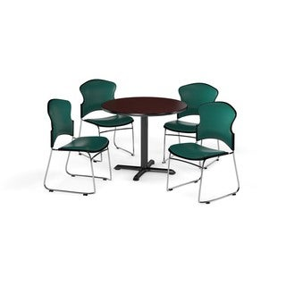 OFM Mahogany 42-inch Round X-Series Multi Purpose Table with 4 Stackable Vinyl Chairs