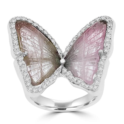 La Vita Vital 14k White Gold Natural Tourmaline and 1/2ct TDW Diamond Butterfly Ring - Pink