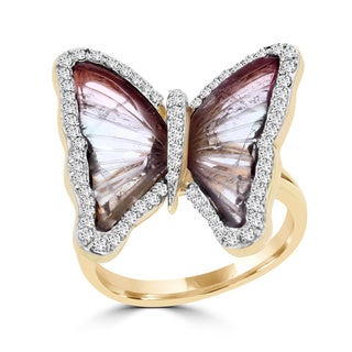 La Vita Vital 18k Rose Gold Natural Tourmaline and 2/5ct TDW Diamond Butterfly Ring - Purple