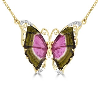 14k Yellow Gold Natural Tourmaline and 1/5ct TDW Diamond Butterfly Necklace (G-H, SI1-SI2)