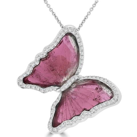 La Vita Vital 14k White Gold Natural Tourmaline and 5/8ct TDW Diamond Butterfly Pendant