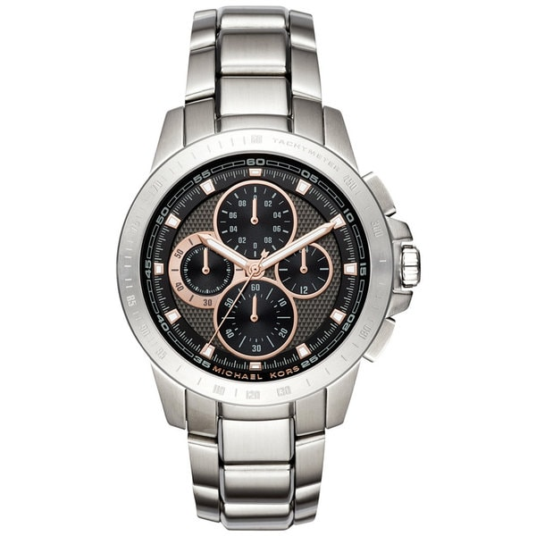 3409d7b8e4b20 Shop Michael Kors Men s MK8528 Ryker Chronograph Black Dial Stainless Steel  Bracelet Watch - Free Shipping Today - Overstock - 13433787