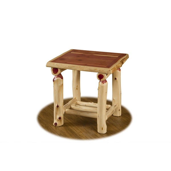 RUSTIC RED CEDAR LOG END TABLE WITH SHELF