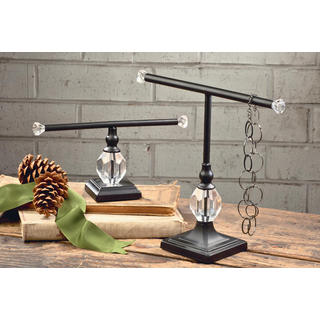 Black Metal Decorative Necklace and Bracelet Stands