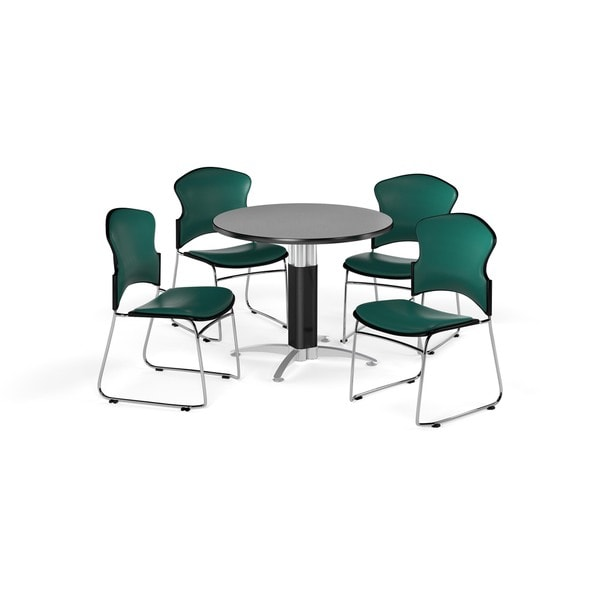 OFM Gray 36-inch Round Mesh Base Laminate Table with 4 Vinyl Chairs