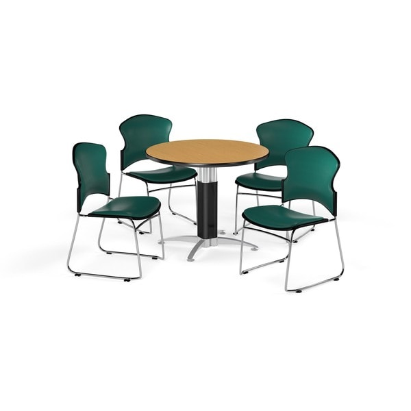 OFM Oak 36-inch Round Mesh Base Laminate Table with 4 Vinyl Chairs