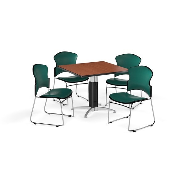 OFM Cherry 36-inch Square Mesh Base Laminate Table with 4 Vinyl Chairs