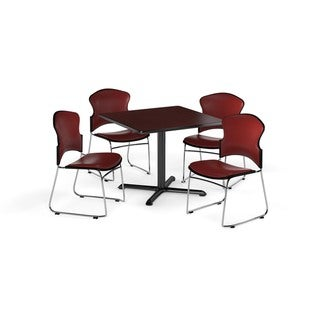OFM Mahogany 42-inch X-Series Square Laminate Table with 4 Vinyl Guest Chairs