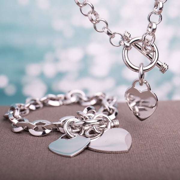 Miadora Sterling Silver Linked-Heart Charm Necklace and Bracelet 2-Piece Set - White. Opens flyout.