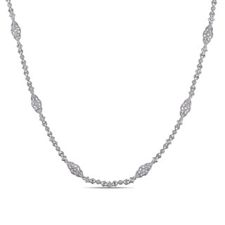 Miadora 1/2ct TDW Diamond Vintage Beaded Station Necklace in Sterling Silver (G-H, I1-I2)