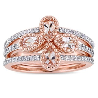 Miadora Rose Rhodium Plated Sterling Silver Morganite and White Topaz Floral 3-Piece Stackable Ring Set