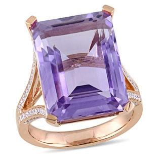 Miadora Signature Collection 14k Rose Gold Octagon-Cut Pink Amethyst 1/2ct TDW Diamond Split Shank Cocktail Ring (G-H,SI1-SI2)