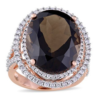 Miadora Signature Collection Oval-Cut Smokey Quartz and 7/8ct TDW Diamond Double Halo Ring in 14k Rose Gold (G-H,SI1-SI2)