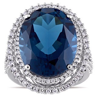Miadora Signature Collection London Blue Topaz and 7/8ct TDW Diamond Double Halo Ring in 14k White Gold (G-H, SI1-SI2)