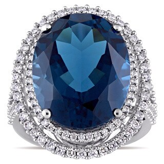 Miadora Signature Collection London Blue Topaz and 7/8ct TDW Diamond Double Halo Ring in 14k White G