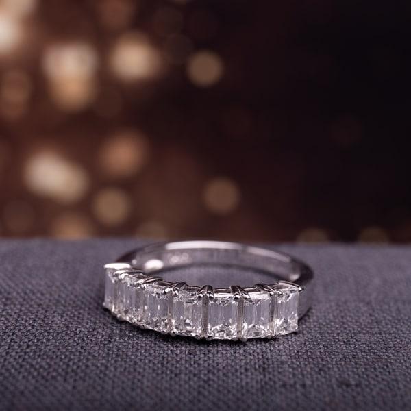 Miadora Signature Collection 14k White Gold 1 3/4ct TDW Emerald-Cut Diamond Semi-Eternity Band. Opens flyout.