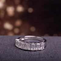 Miadora Signature Collection 14k White Gold 1 3/4ct TDW Emerald-Cut Diamond Semi-Eternity Band