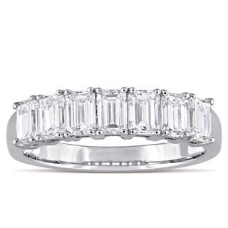 Miadora Signature Collection 14k White Gold 1-3/4ct TDW Emerald-Cut Diamond Semi Eternity Anniversary Band (G-H, SI1-SI2)
