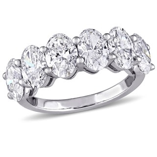 Miadora Signature Collection 14k White Gold 3 5/8ct TDW Oval-Cut Diamond 6-Stone Semi-Eternity Wedding Band (F-G, SI1-SI2)