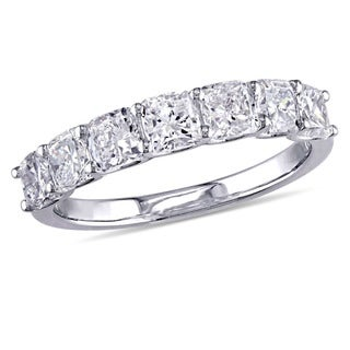 Miadora Signature Collection 14k White Gold 1-3/4ct TDW Cushion-Cut Diamond 7-Stone Semi-Eternity Wedding Band (G-H, S12)