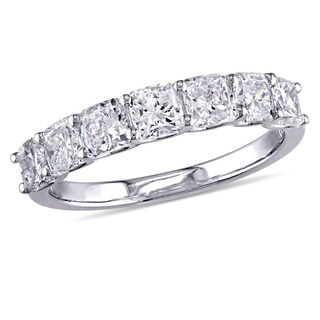 Miadora Signature Collection 14k White Gold 1-3/4ct TDW Cushion-Cut Diamond 7-Stone Semi-Eternity We