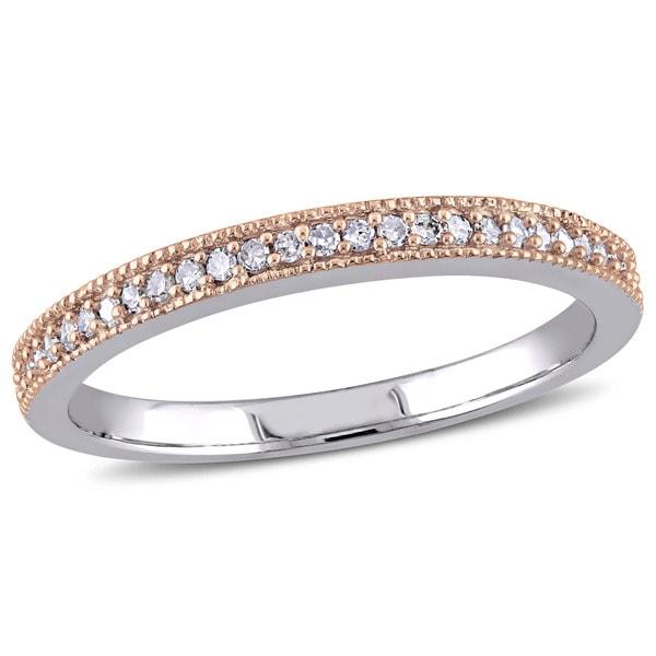 Miadora 2-Tone 10k White and Rose Gold 1/8ct Pave-Set Diamond TDW Semi-Eternity Wedding Band. Opens flyout.