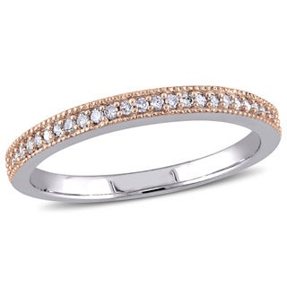Miadora 2-Tone 10k White and Rose Gold 1/8ct Pave-Set Diamond TDW Semi-Eternity Wedding Band (G-H, I1-I2)