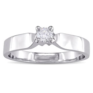 Miadora Signature Collection 14k Polished Broad White Gold 1/6ct TDW Diamond Solitaire Engagement Ring (G-H, SI2-SI3)