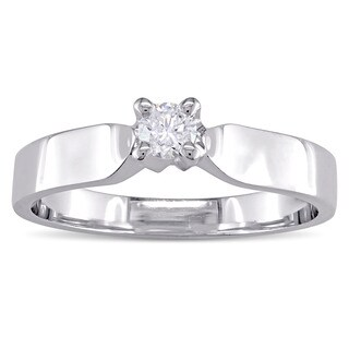 Miadora Signature Collection 14k Polished Broad White Gold 1/6ct TDW Diamond Solitaire Engagement Ri