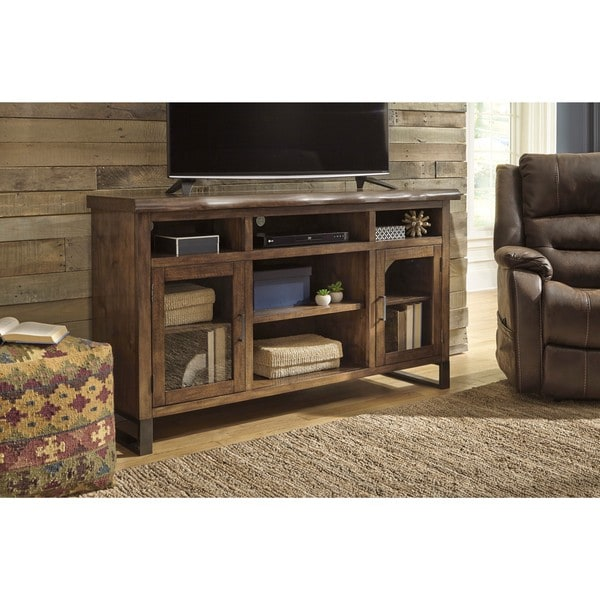 Signature Design by Ashley Esmarina Walnut Brown TV Stand with Electric  Fireplace - Signature Design By Ashley Esmarina Walnut Brown TV Stand With