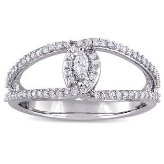 Miadora Sterling Silver 1/3ct TDW Marquise and Round-Cut Diamonds Interlocked Engagement Ring