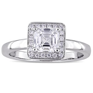 Miadora Signature Collection 14k White Gold 1ct TDW Asscher-Cut Diamond Square Halo Solitaire Engagement Ring (H-I, SI1-SI2)