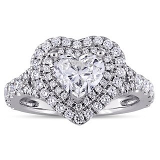 Miadora Signature Collection 14k White Gold 1-3/8ct TDW Heart-Cut Double Halo Engagement Ring in 14k White Gold (I-J, SI1-SI2)