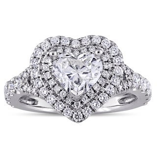 Miadora Signature Collection 14k White Gold 1-3/8ct TDW Heart-Cut Double Halo Engagement Ring in 14k