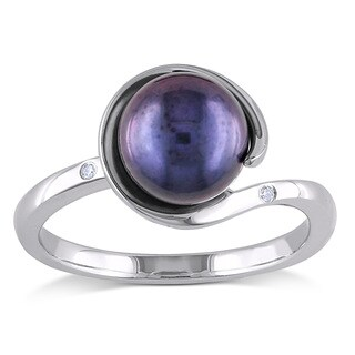 Miadora 10k White Gold Black Cultured Freshwater Pearl and Diamond Accent Loop Ring (G-H,I2-I3)(8 - 8.5 mm)